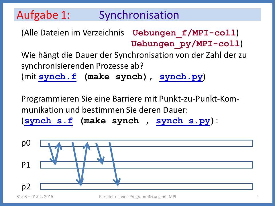 (Alle Dateien im Verzeichnis Uebungen_f/MPI-coll ) Uebungen_py/MPI-coll ) Wie hängt die Dauer der Synchronisation von der Zahl der zu synchronisierenden Prozesse ab.