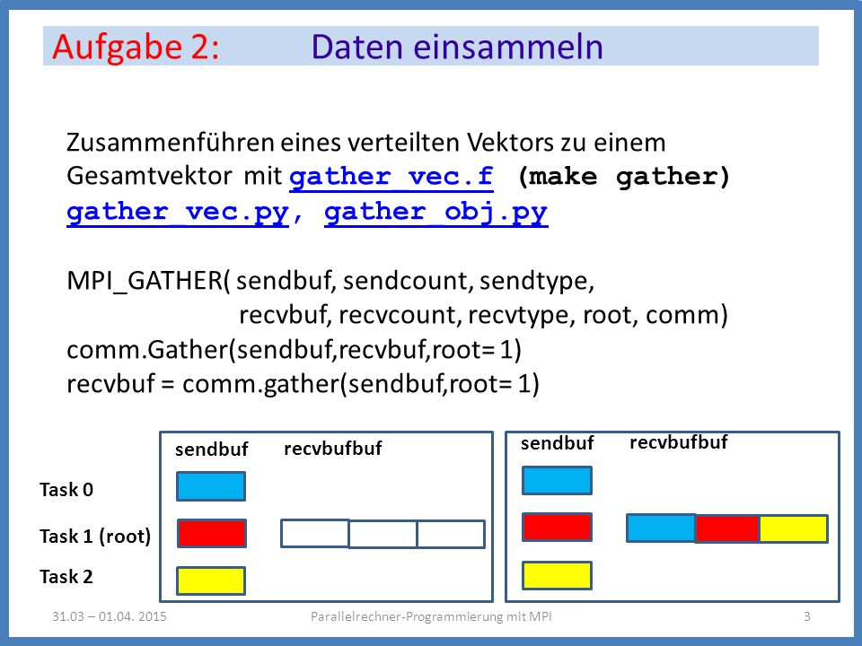 Aufgabe 2: Daten einsammeln Parallelrechner-Programmierung mit MPI331.03 – 01.04.