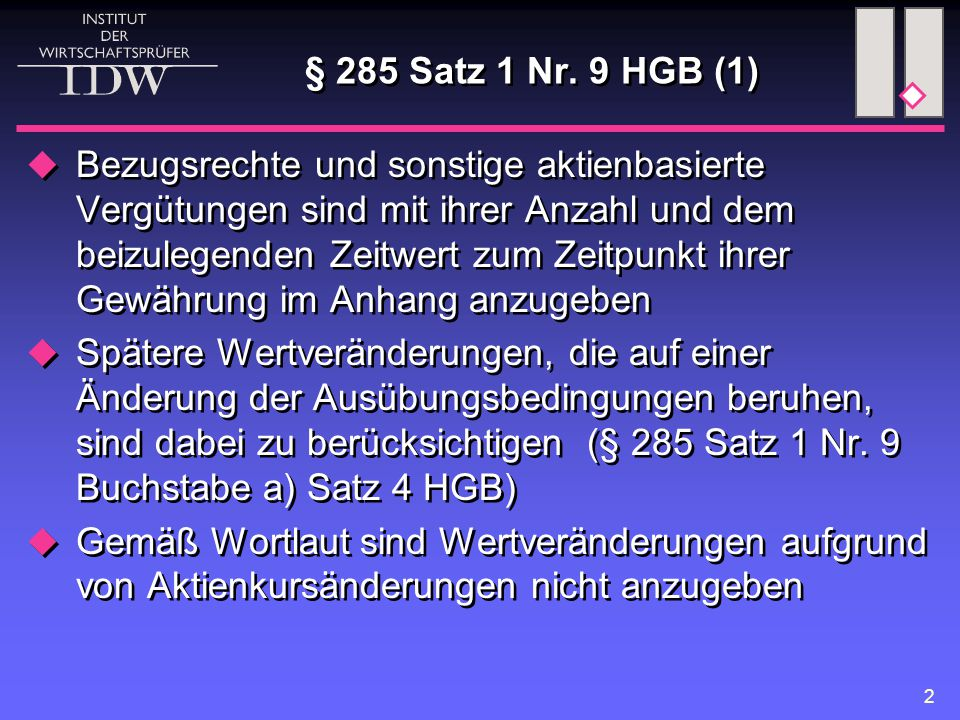 2 § 285 Satz 1 Nr.