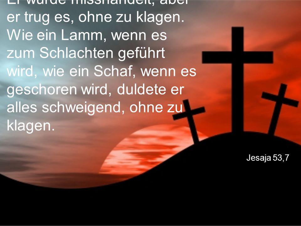 Jesaja 53,7 Er wurde misshandelt, aber er trug es, ohne zu klagen. Wie ein Lamm, wenn es zum Schlachten geführt wird, wie ein Schaf, wenn es geschoren