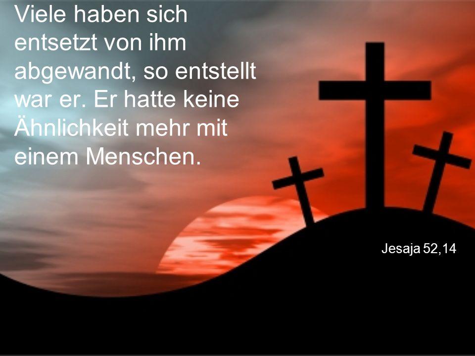 Jesaja 52,14 Viele haben sich entsetzt von ihm abgewandt, so entstellt war er. Er hatte keine Ähnlichkeit mehr mit einem Menschen.