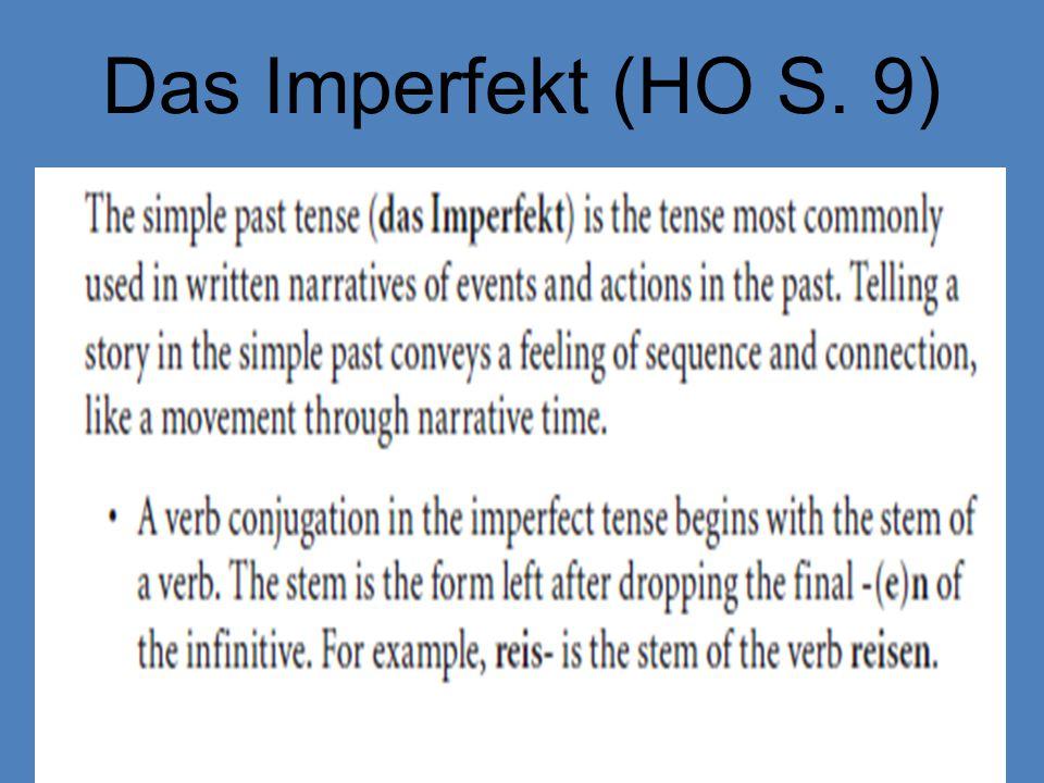 Das Imperfekt (HO S. 9)