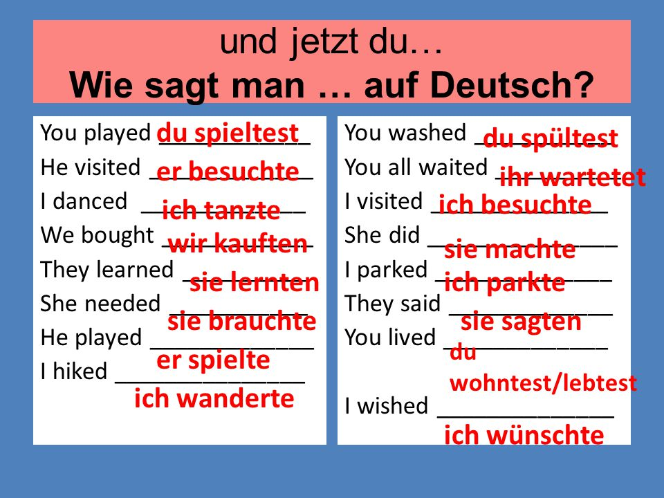 und jetzt du… Wie sagt man … auf Deutsch? You played ____________ He visited _____________ I danced _____________ We bought ____________ They learned