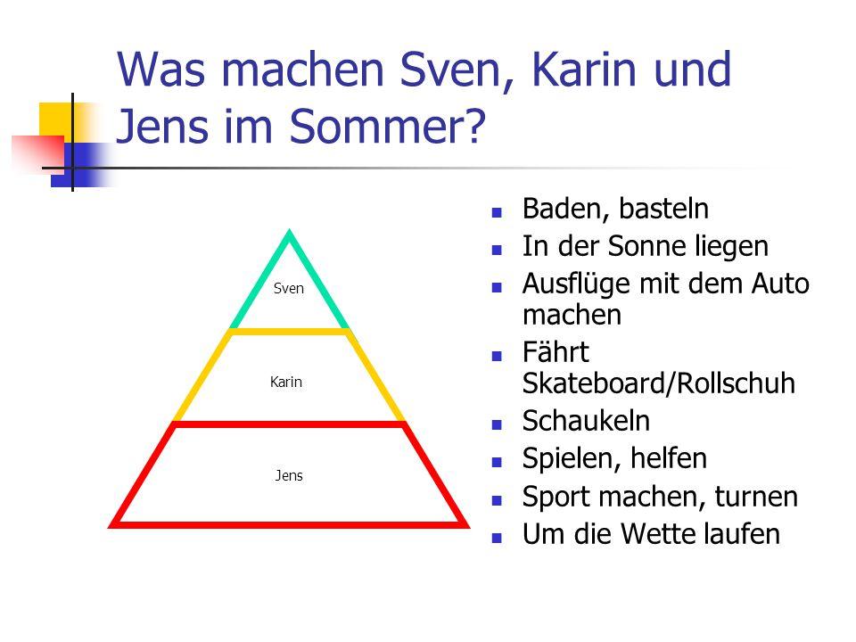 Was machen Sven, Karin und Jens im Sommer? Sven Karin Jens Baden, basteln In der Sonne liegen Ausflüge mit dem Auto machen Fährt Skateboard/Rollschuh