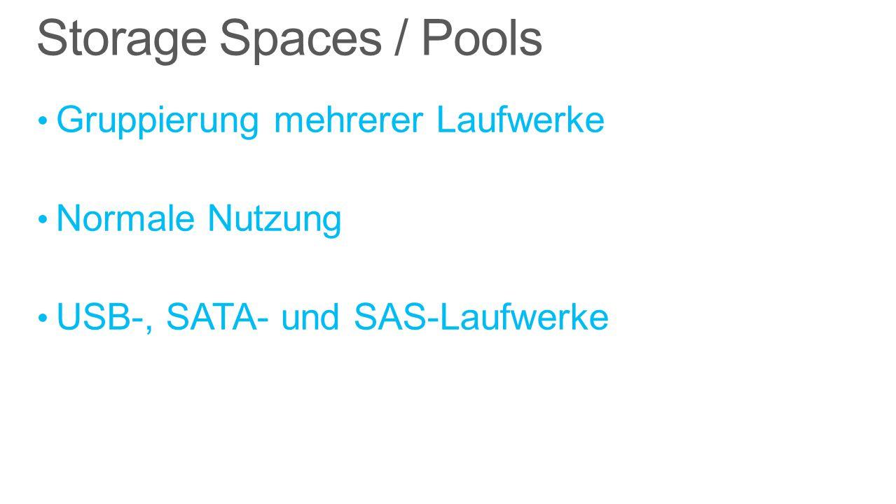 Storage Spaces / Pools Gruppierung mehrerer Laufwerke Normale Nutzung USB-, SATA- und SAS-Laufwerke