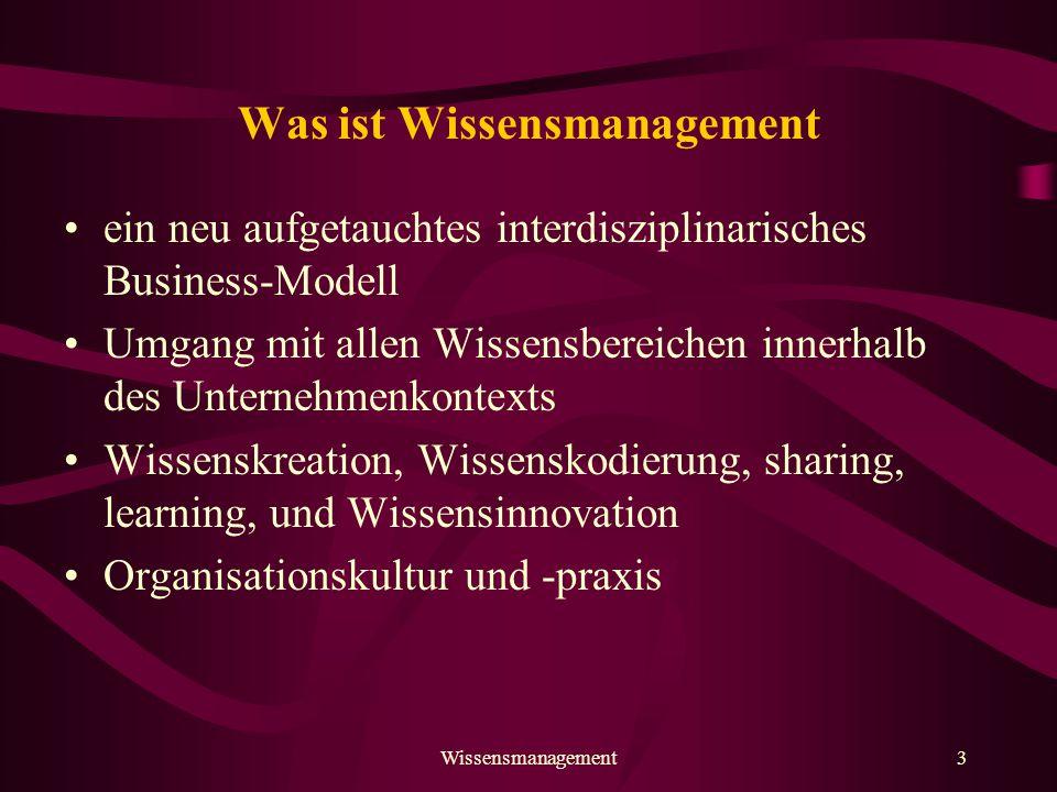 """Wissensmanagement4 Die Ziele von Wissensmanagement Wissen am richtigen Ort verfügbar Optimale Nutzung der Ressource """"Wissen Lernen aus Erfahrung Prozessverbesserung Aufbau kreativer Unternehmenspotentiale"""