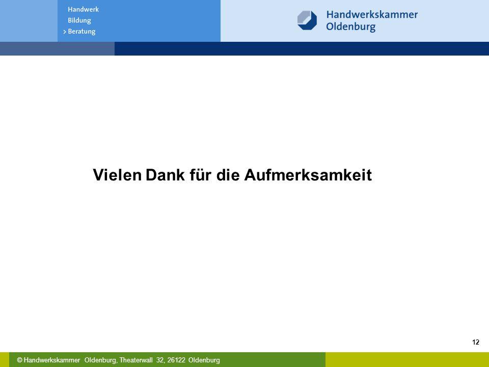 © Handwerkskammer Oldenburg, Theaterwall 32, 26122 Oldenburg Vielen Dank für die Aufmerksamkeit 12
