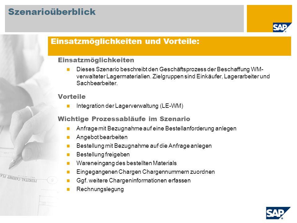 Erforderlich SAP EHP3 for SAP ERP 6.0 An Prozessabläufen beteiligte Benutzerrollen Einkäufer Lagermitarbeiter Kreditorenbuchhalter Erforderliche SAP Anwendungen: Szenarioüberblick