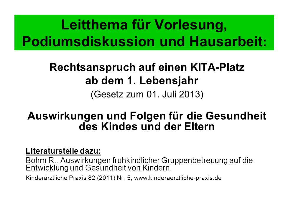Leitthema für Vorlesung, Podiumsdiskussion und Hausarbeit : Rechtsanspruch auf einen KITA-Platz ab dem 1.