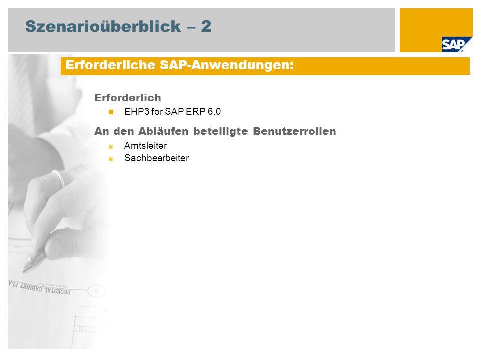 Szenarioüberblick – 2 Erforderlich EHP3 for SAP ERP 6.0 An den Abläufen beteiligte Benutzerrollen Amtsleiter Sachbearbeiter Erforderliche SAP-Anwendungen: