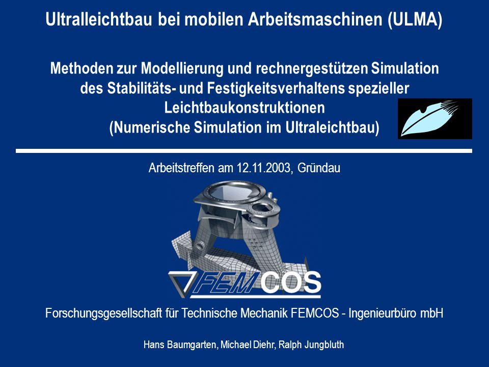 ULMA Arbeitspakete – Zeit- und Meilensteinplanung AP5: Gesamtkonzept Modellierung/Simulation Auslegekriterien Verifikation von Softwarewerkzeugen Optimierung der Substruktur-/Superelement- technik Test und Verifikation von Softwarewerk- zeugen Numerische Simulation für prototypische Anwendungen