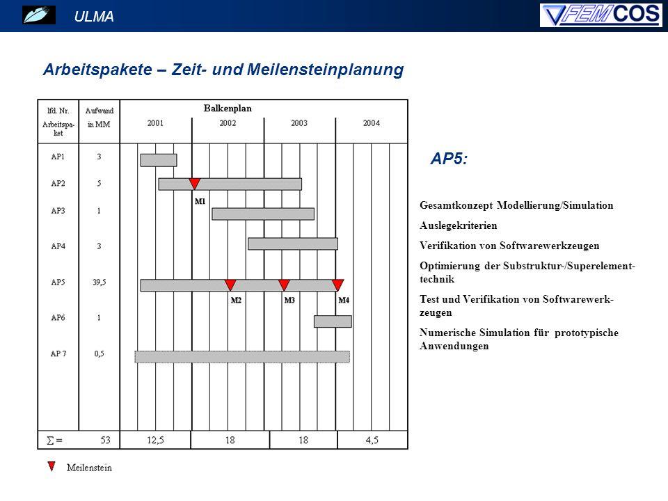 ULMA Arbeitspakete – Zeit- und Meilensteinplanung AP5: Gesamtkonzept Modellierung/Simulation Auslegekriterien Verifikation von Softwarewerkzeugen Opti