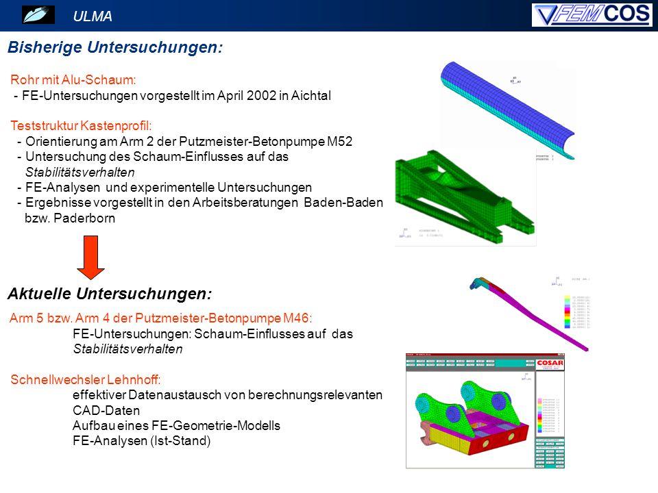 ULMA Putzmeister-Betonpumpe M46: Einsatz von Metallschaum-Platten am Arm 5 221 2441 2252 Schaumposition 1 Arm mit verminderten Blechdicken: Verstärkung mit Metallschaum