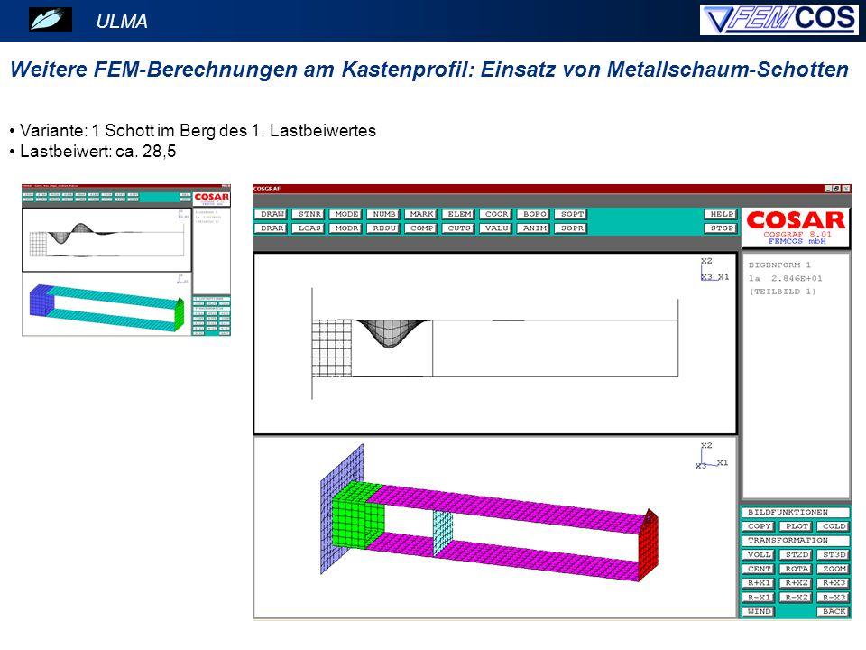ULMA Variante: 1 Schott im Berg des 1. Lastbeiwertes Lastbeiwert: ca. 28,5 Weitere FEM-Berechnungen am Kastenprofil: Einsatz von Metallschaum-Schotten