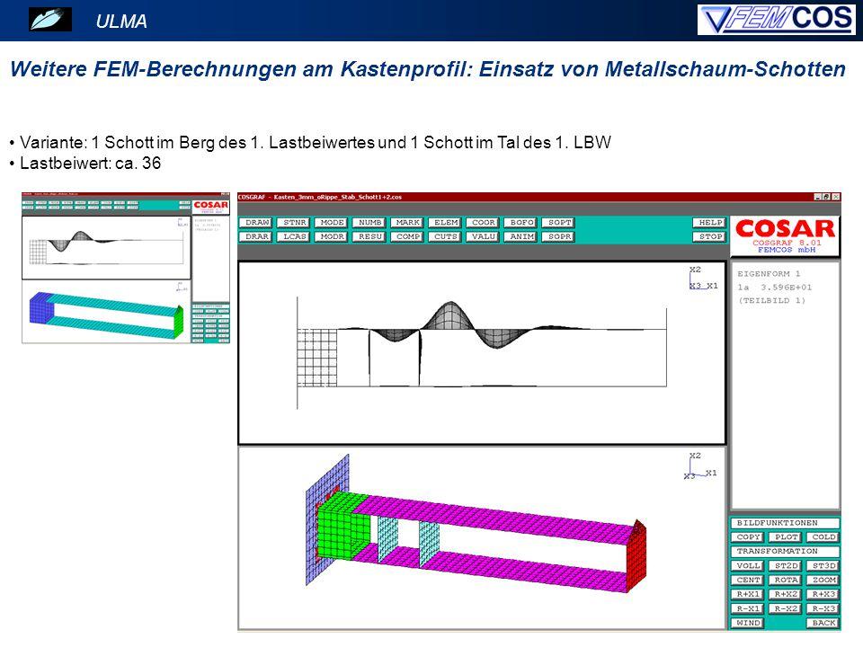 ULMA Variante: 1 Schott im Berg des 1. Lastbeiwertes und 1 Schott im Tal des 1. LBW Lastbeiwert: ca. 36 Weitere FEM-Berechnungen am Kastenprofil: Eins