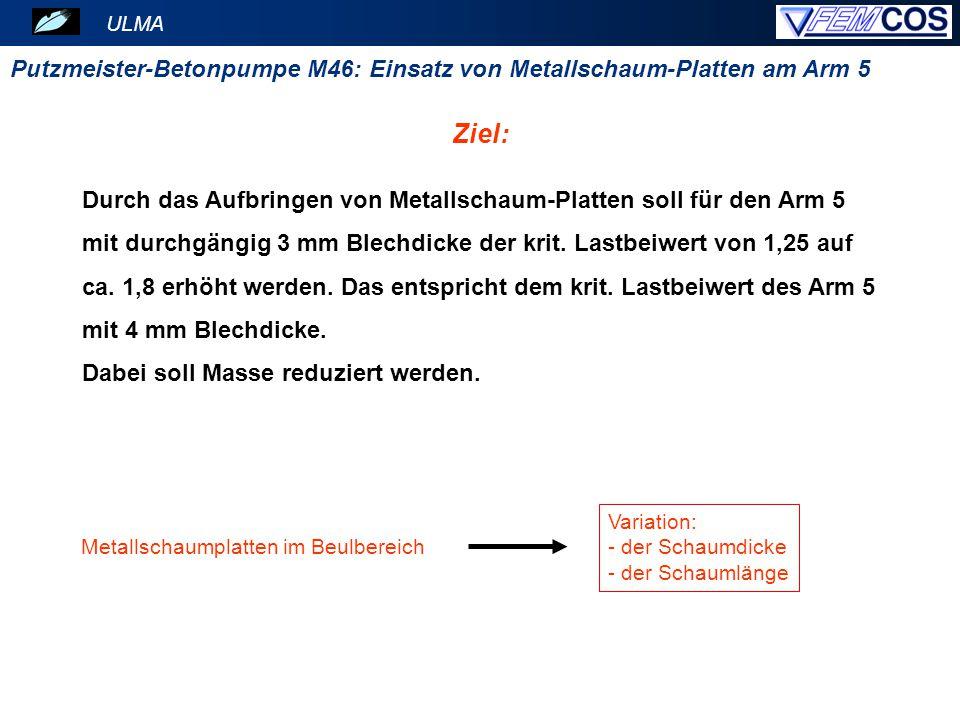 ULMA Putzmeister-Betonpumpe M46: Einsatz von Metallschaum-Platten am Arm 5 Dickensprünge und daher Blechstöße Ausgangsgeometrie mit höhere Blechdicken (4 mm): Blechdickenverteilung Masse m = 152,2 kg