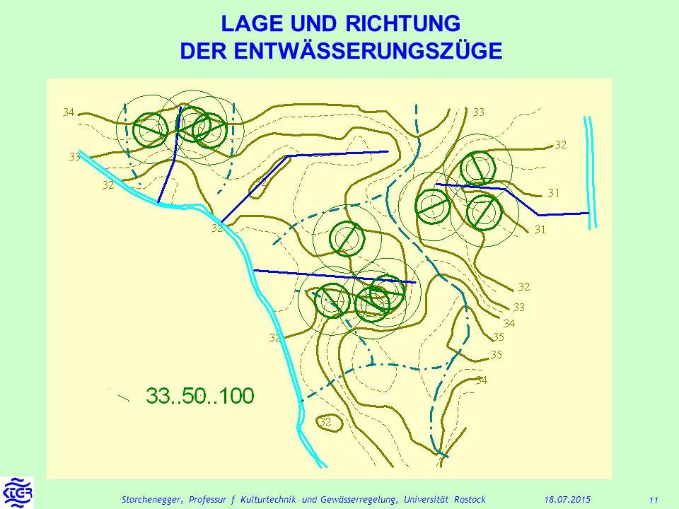 11 18.07.2015Storchenegger, Professur f Kulturtechnik und Gewässerregelung, Universität Rostock LAGE UND RICHTUNG DER ENTWÄSSERUNGSZÜGE
