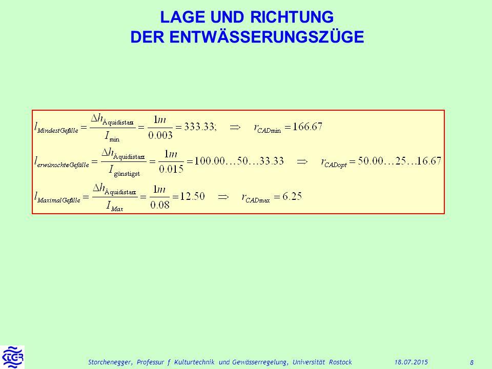 8 18.07.2015Storchenegger, Professur f Kulturtechnik und Gewässerregelung, Universität Rostock LAGE UND RICHTUNG DER ENTWÄSSERUNGSZÜGE