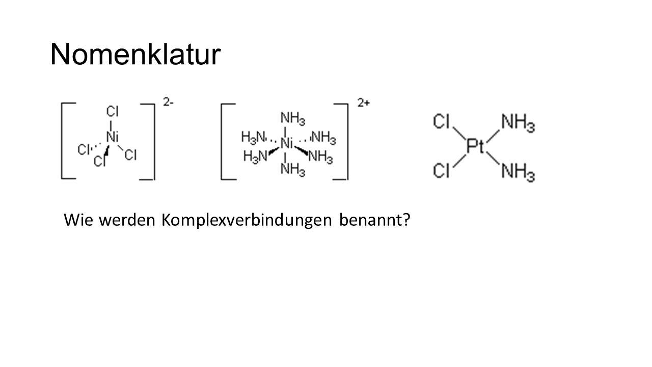 Nomenklatur Wie werden Komplexverbindungen benannt?