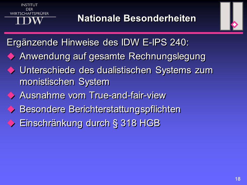 18 Nationale Besonderheiten Ergänzende Hinweise des IDW E-IPS 240:  Anwendung auf gesamte Rechnungslegung  Unterschiede des dualistischen Systems zu