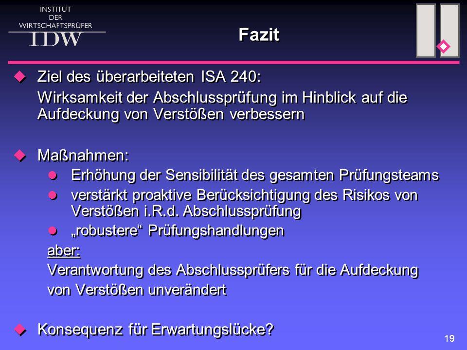 19 Fazit  Ziel des überarbeiteten ISA 240: Wirksamkeit der Abschlussprüfung im Hinblick auf die Aufdeckung von Verstößen verbessern  Maßnahmen: Erhö