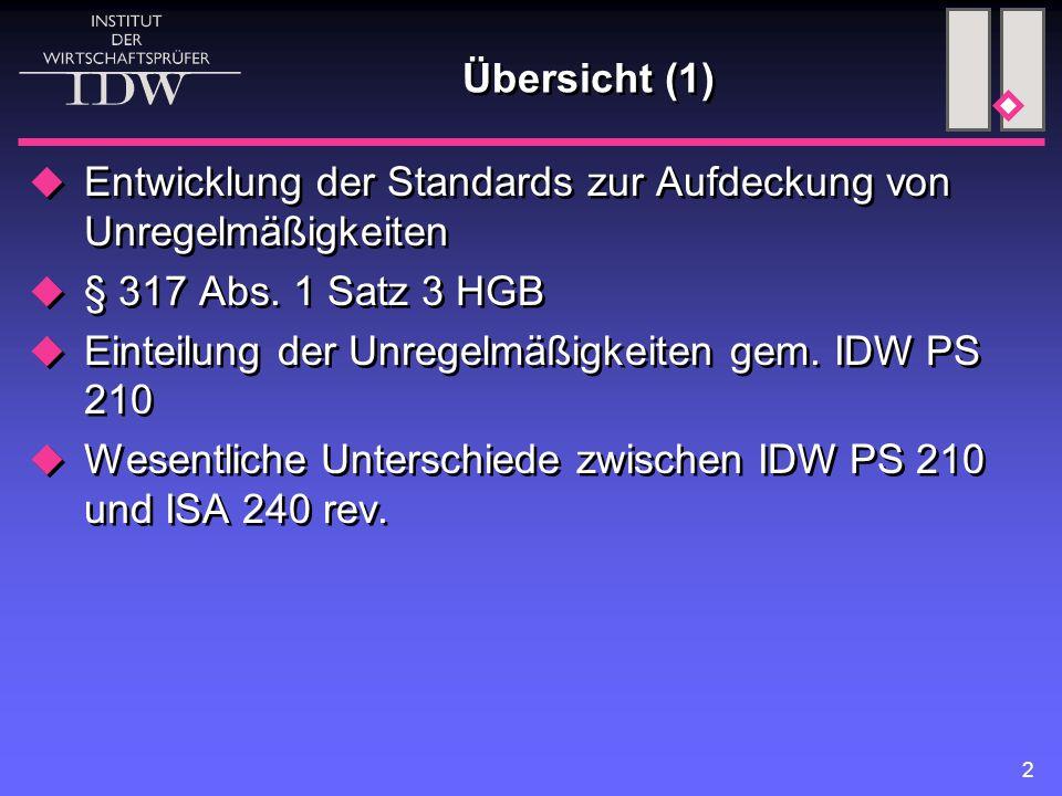 2 Übersicht (1)  Entwicklung der Standards zur Aufdeckung von Unregelmäßigkeiten  § 317 Abs. 1 Satz 3 HGB  Einteilung der Unregelmäßigkeiten gem. I