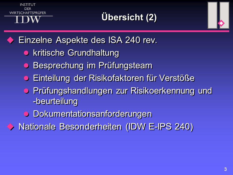 3 Übersicht (2)  Einzelne Aspekte des ISA 240 rev. kritische Grundhaltung Besprechung im Prüfungsteam Einteilung der Risikofaktoren für Verstöße Prüf