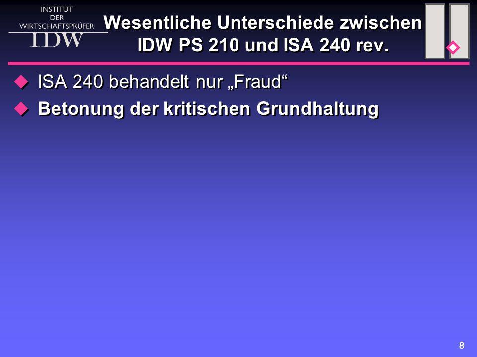 """8 Wesentliche Unterschiede zwischen IDW PS 210 und ISA 240 rev.  ISA 240 behandelt nur """"Fraud""""  Betonung der kritischen Grundhaltung  ISA 240 behan"""