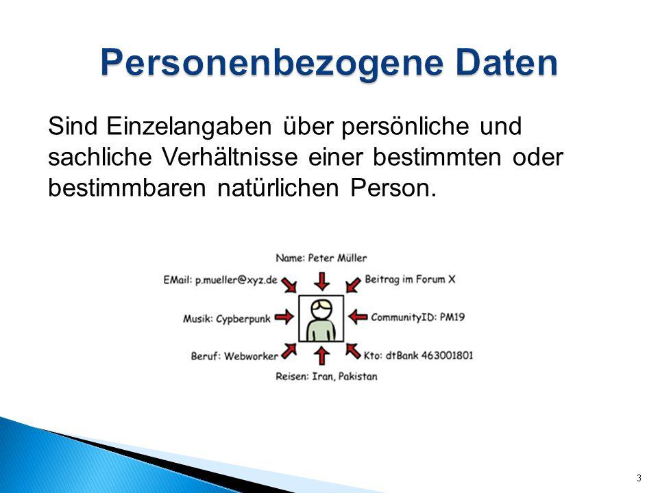 Sind Einzelangaben über persönliche und sachliche Verhältnisse einer bestimmten oder bestimmbaren natürlichen Person. 3