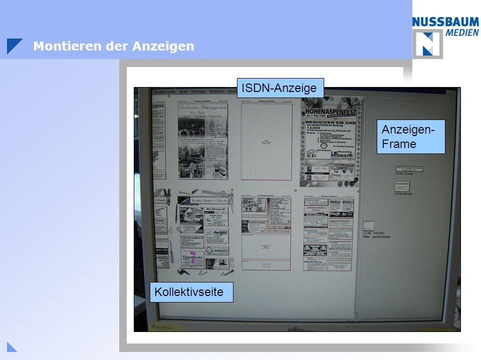 ISDN-Anzeige Kollektivseite Anzeigen- Frame