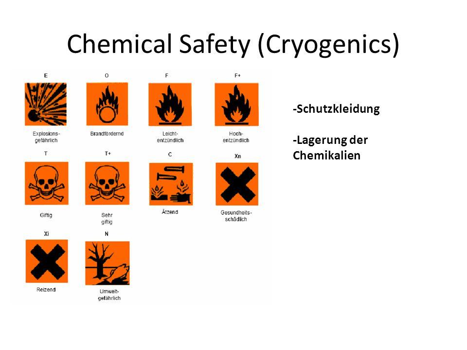 Chemical Safety (Cryogenics) -Schutzkleidung -Lagerung der Chemikalien