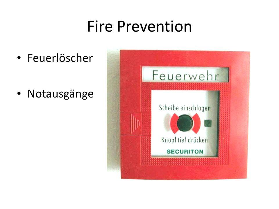 Fire Prevention Feuerlöscher Notausgänge