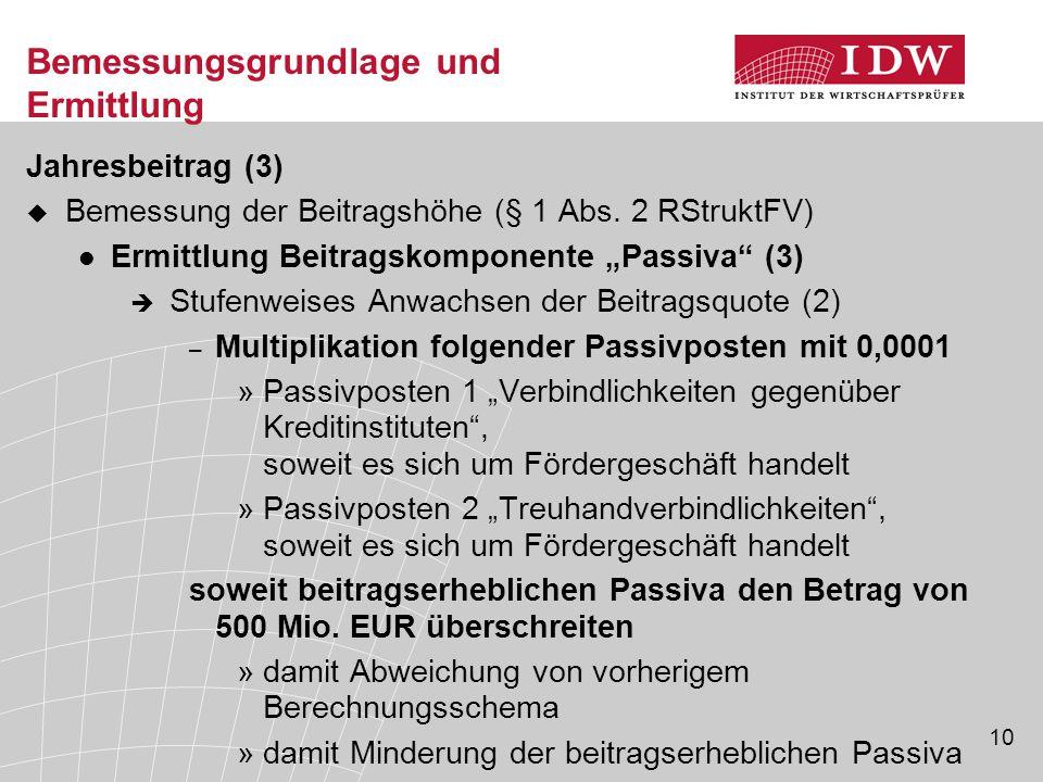 """10 Bemessungsgrundlage und Ermittlung Jahresbeitrag (3)  Bemessung der Beitragshöhe (§ 1 Abs. 2 RStruktFV) Ermittlung Beitragskomponente """"Passiva"""" (3"""