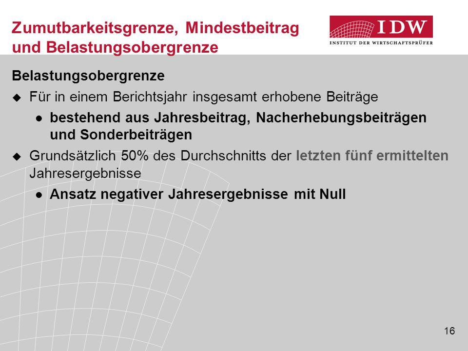 16 Zumutbarkeitsgrenze, Mindestbeitrag und Belastungsobergrenze Belastungsobergrenze  Für in einem Berichtsjahr insgesamt erhobene Beiträge bestehend