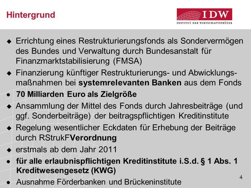 4 Hintergrund  Errichtung eines Restrukturierungsfonds als Sondervermögen des Bundes und Verwaltung durch Bundesanstalt für Finanzmarktstabilisierung
