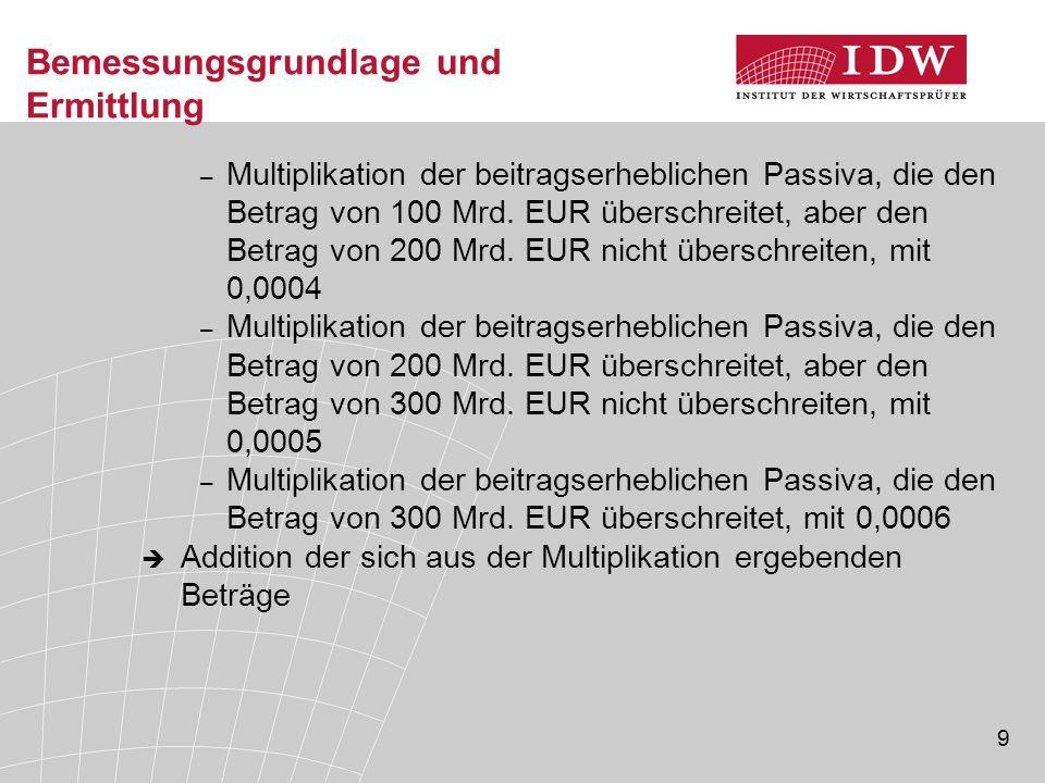 9 Bemessungsgrundlage und Ermittlung – Multiplikation der beitragserheblichen Passiva, die den Betrag von 100 Mrd. EUR überschreitet, aber den Betrag