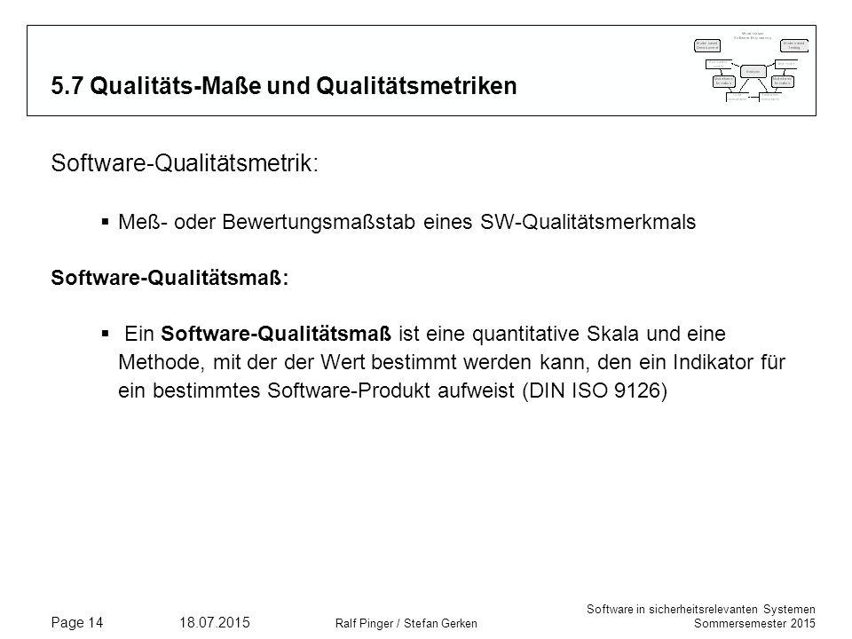 Software in sicherheitsrelevanten Systemen Sommersemester 2015 18.07.2015 Ralf Pinger / Stefan Gerken Page 14 5.7 Qualitäts-Maße und Qualitätsmetriken