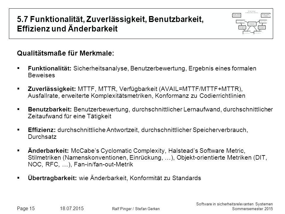 Software in sicherheitsrelevanten Systemen Sommersemester 2015 18.07.2015 Ralf Pinger / Stefan Gerken Page 15 5.7 Funktionalität, Zuverlässigkeit, Ben