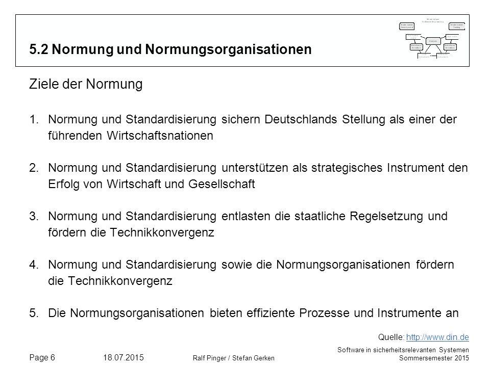 Software in sicherheitsrelevanten Systemen Sommersemester 2015 18.07.2015 Ralf Pinger / Stefan Gerken Page 6 5.2 Normung und Normungsorganisationen Zi