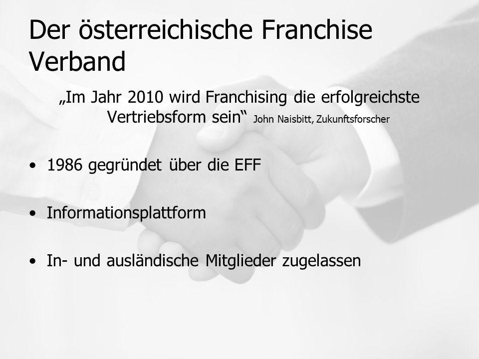 """Der österreichische Franchise Verband """"Im Jahr 2010 wird Franchising die erfolgreichste Vertriebsform sein John Naisbitt, Zukunftsforscher 1986 gegründet über die EFF Informationsplattform In- und ausländische Mitglieder zugelassen"""