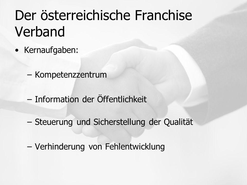 Der österreichische Franchise Verband Kernaufgaben: –Kompetenzzentrum –Information der Öffentlichkeit –Steuerung und Sicherstellung der Qualität –Verhinderung von Fehlentwicklung