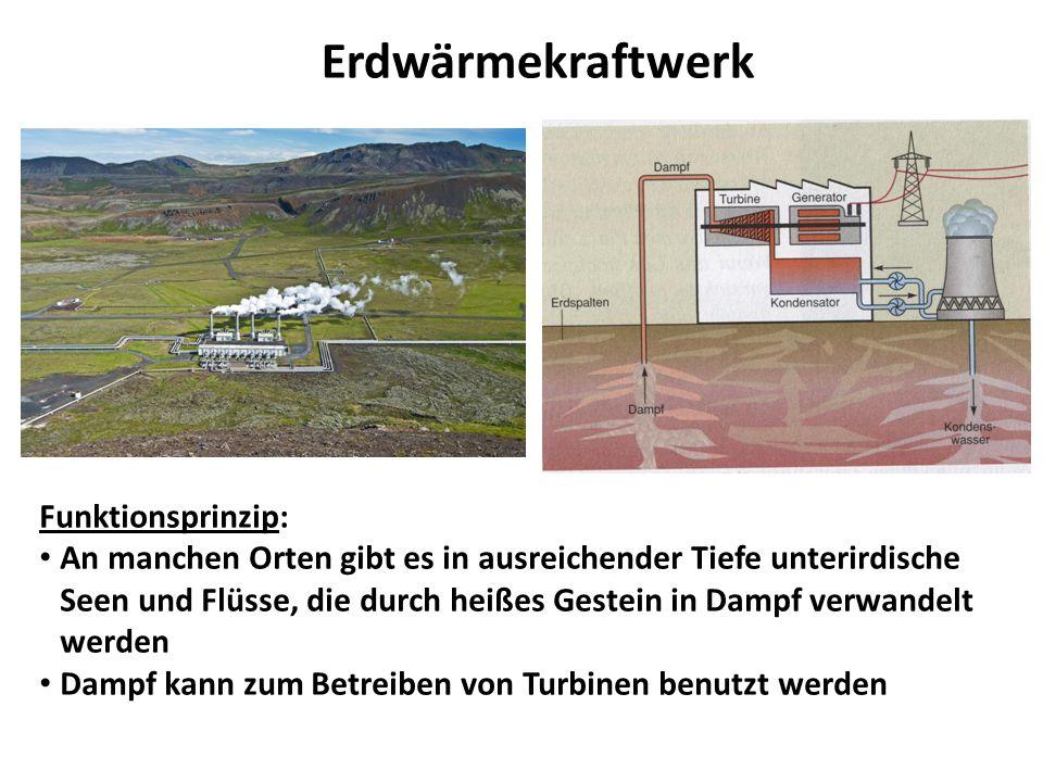 Erdwärmekraftwerk Funktionsprinzip: An manchen Orten gibt es in ausreichender Tiefe unterirdische Seen und Flüsse, die durch heißes Gestein in Dampf v