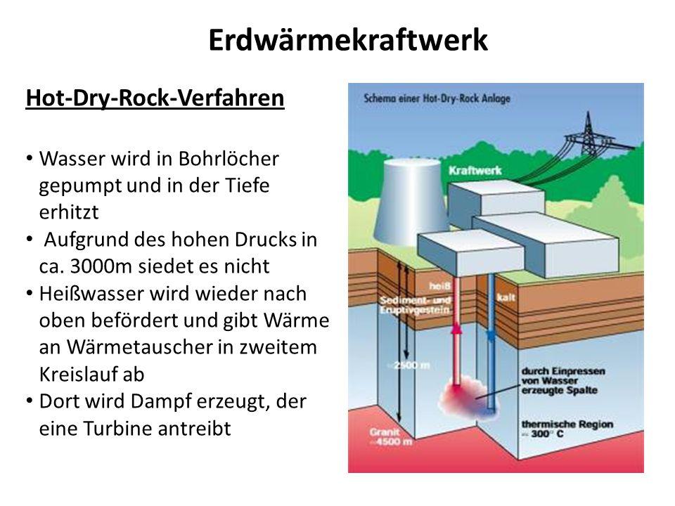 Erdwärmekraftwerk Hot-Dry-Rock-Verfahren Wasser wird in Bohrlöcher gepumpt und in der Tiefe erhitzt Aufgrund des hohen Drucks in ca. 3000m siedet es n