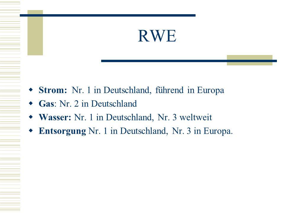 RWE  Strom: Nr. 1 in Deutschland, führend in Europa  Gas: Nr. 2 in Deutschland  Wasser: Nr. 1 in Deutschland, Nr. 3 weltweit  Entsorgung Nr. 1 in