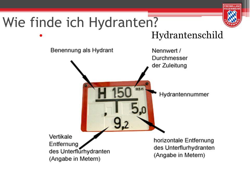 Wie finde ich Hydranten? Hydrantenschild