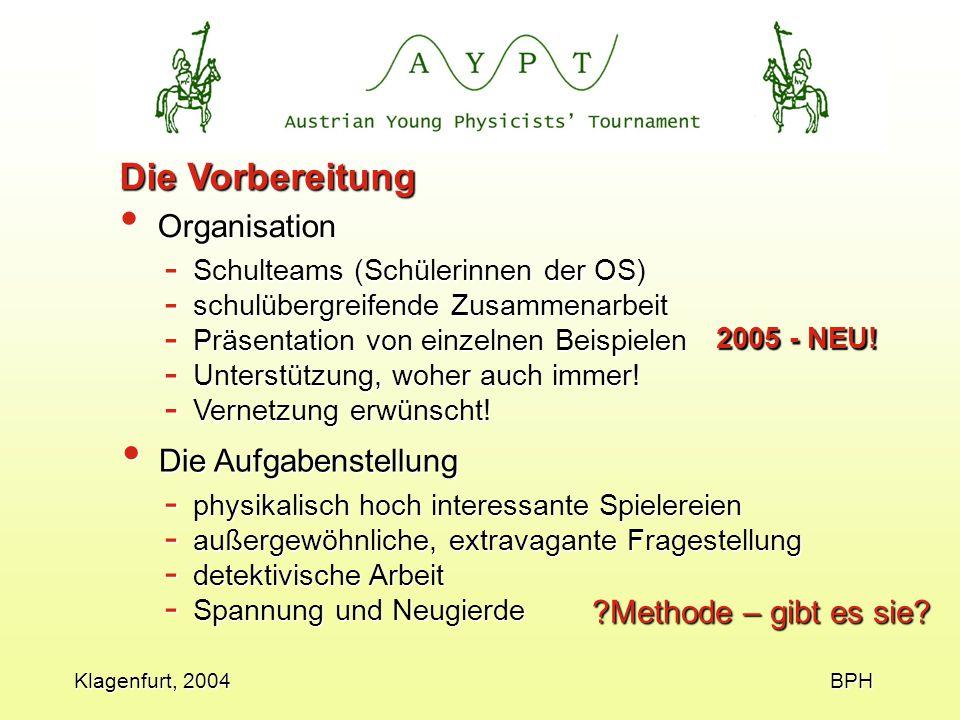 Klagenfurt, 2004 BPH Die Vorbereitung Organisation Organisation ?Methode – gibt es sie.