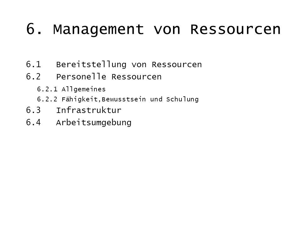 6. Management von Ressourcen 6.1 Bereitstellung von Ressourcen 6.2 Personelle Ressourcen 6.2.1 Allgemeines 6.2.2 Fähigkeit,Bewusstsein und Schulung 6.