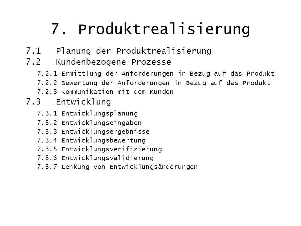 7. Produktrealisierung 7.1 Planung der Produktrealisierung 7.2 Kundenbezogene Prozesse 7.2.1 Ermittlung der Anforderungen in Bezug auf das Produkt 7.2