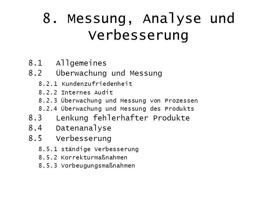 8. Messung, Analyse und Verbesserung 8.1 Allgemeines 8.2 Überwachung und Messung 8.2.1 Kundenzufriedenheit 8.2.2 Internes Audit 8.2.3 Überwachung und
