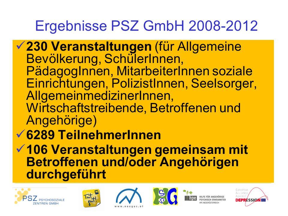 Ergebnisse PSZ GmbH 2008-2012 230 Veranstaltungen (für Allgemeine Bevölkerung, SchülerInnen, PädagogInnen, MitarbeiterInnen soziale Einrichtungen, Pol
